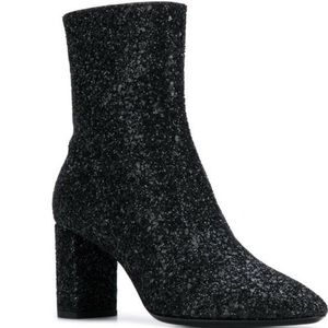 Saint Laurent Lou 95 Glitter Ankle Boots Size 39